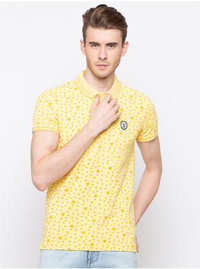 Spykar Polo Slim Fit T-Shirts, xl,  pastle yellow