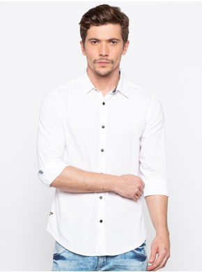 Spykar Regular Collar Solids Slim Fit Shirts, l,  white