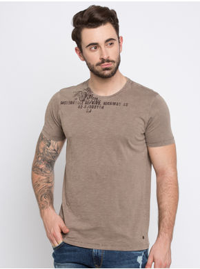 Spykar Dyed Round Neck T-Shirts, l,  mud
