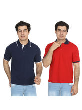 Brandtrendz Uva Blue And Red Pack of 2 Polo T Shirts, l