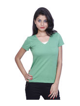 And You Green Cotton Stylish T-shirt for Women, s