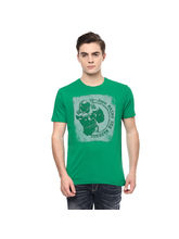 Graphic Round Neck Print T-Shirt, l, green