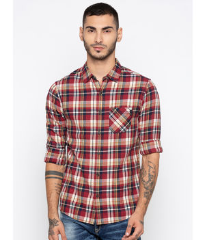 Spykar Checked Slim Fit Shirts,  red, m