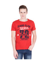 American-Elm Men's Cotton Round Neck Printed T-Shirt- Red, l