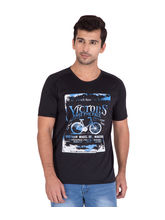 American-Elm Men's Cotton Printed Round Neck T-Shirt, black, xxl