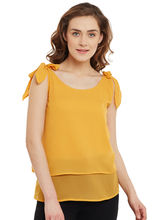 Femella Shoulder Tie Up Top (DS-628628-1596-MST), xl, mustard