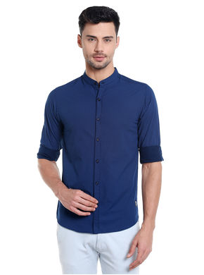 Print Mandarin Collar Shirt, s,  blue