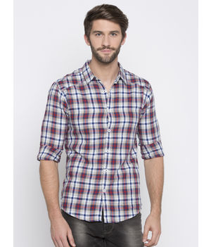 Spykar Checked Slim Fit Shirts, m,  white/red