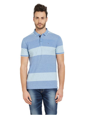 Striped Polo T-Shirt,  sky blue, s