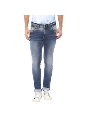 Low Rise Tight Fit Jeans,  mid blue, 32