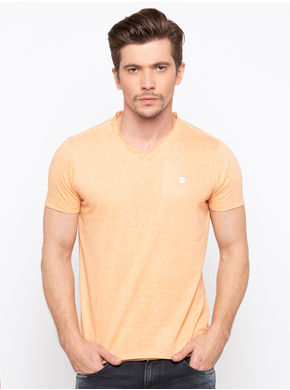 Spykar V Neck Solids Slim Fit T-Shirts,  muskmelon, m