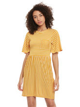 Femella Mustard Stripe Midi Dress, m