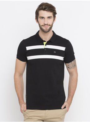 Spykar Stripes Slim Fit T-Shirts, l,  black