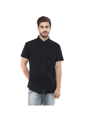 Solid Regular Shirt, s,  black