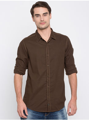 Spykar Solids Slim Fit Shirts, l,  coffee