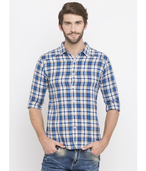 Spykar Checked Slim Fit Shirts, m,  white/blue