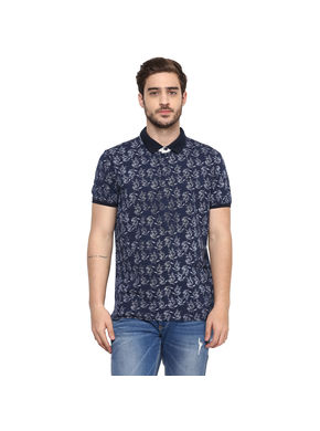 Printed Polo Slim Fit T-Shirt, m,  navy