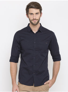 Spykar Prints Slim Fit Shirts, l,  navy