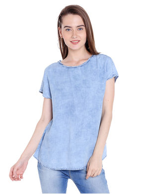 Denim Round Neck Top,  light blue, xl