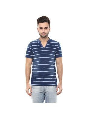 Striped V Neck Slim Fit T-Shirt,  light indigo, xl