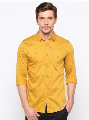 Spykar Slim Collar Slim Fit Shirts, l,  mustard