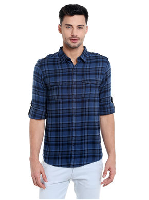 Checks Cut Away Slim Fit Shirt,  navy, xl