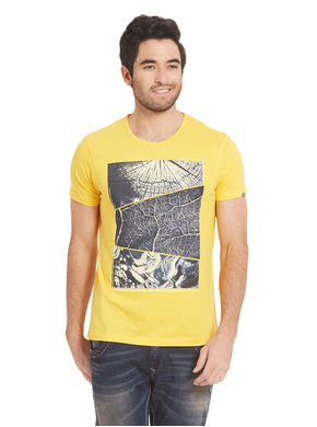 Printed Round Neck T-Shirt,  yellow, l