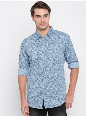 Spykar Printed Slim Fit Shirts, l,  blue