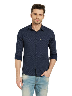 Printed Regular Slim Fit Shirt,  blue, m