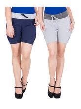 American-Elm Women's Hot Pants (Pack Of 2) Blue, Grey, xxl