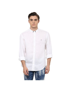 Solid Mandarin Collar Shirt,  white, s
