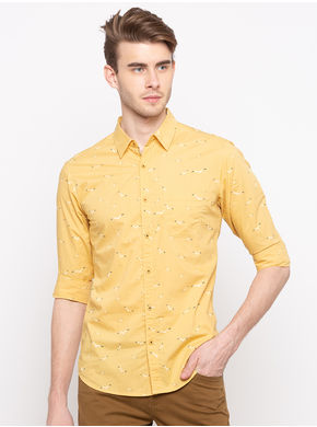 Spykar Regular Collar Slim Fit Shirts, l,  yellow