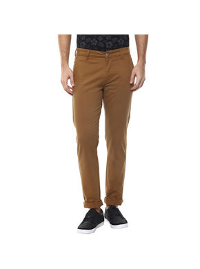 Solid Flat Front Chinos,  golden khaki, 34