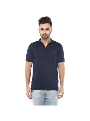 Solid Polo Slim Fit T-Shirt,  navy, s