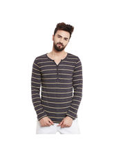 Rigo Charcoal Stripes Full Sleeve Henley Tee, xxl