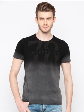 Spykar Round Neck Slim Fit T-Shirts, xl,  black indigo
