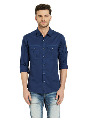 Solid Regular Slim Fit Shirt, m,  blue