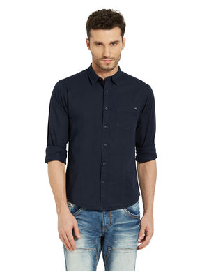 Solid Regular Slim Fit Shirt, s,  navy
