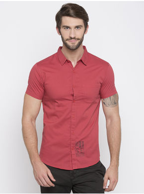 Spykar Solid Slim Fit Shirts, l,  rust