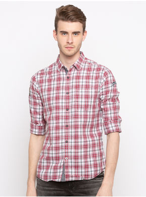 Spykar Regular Collar Checks Slim Fit Shirts, xl,  red