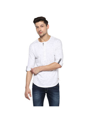 Solid Henley T-Shirt, l,  white