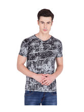 American-Elm Black Cotton Printed Round Neck T-Shirt, l