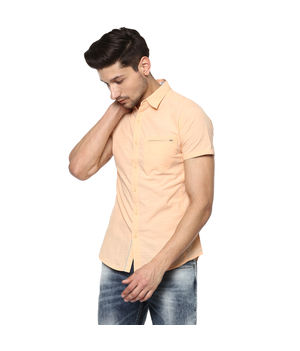 Solid Cut Away Shirt, l,  peach