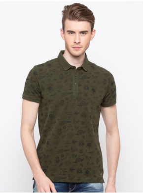 Spykar Polo Slim Fit T-Shirts,  olive, m
