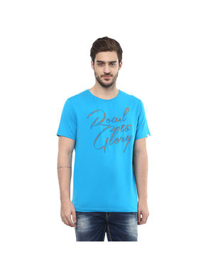 Round Neck Printed T-Shirt, l,  turquoise