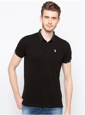 Spykar Polo Neck Slim Fit T-Shirts,  black, m