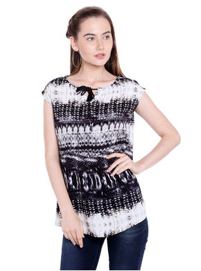 Printed Top,  black, xl