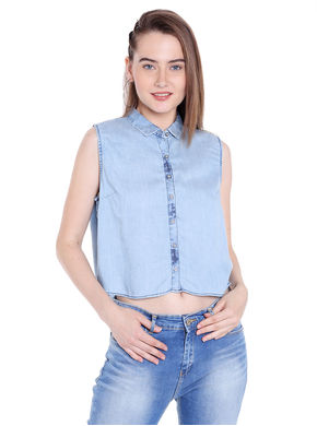 Denim Collar Shirt, xl,  light blue