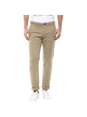 Solid Flat Front Trousers,  khaki, 36