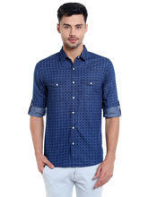 Printed Shirt In Slim Fit, xl, blue